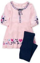 Flapdoodles Toddler Girls) Two-Piece Floral Heart Dress & Leggings Set