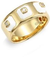 Maria Canale Pyramide 18K Yellow Gold, Diamond & White Agate Narrow Ring