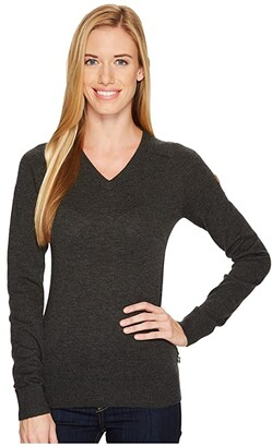 Fjallraven Sormland V-Neck Sweater (Dark Grey) Women's Sweater