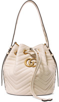 Gucci Gg Marmont Quilted Leather Bucket Bag - Cream