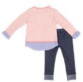 Little Lass Chenille Mock Layered Sweater and Polka Dot Denim Leggings, 2pc Outfit Set (Baby Girls & Toddler Girls)