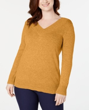 Karen Scott Plus Size Crossover V-Neck Sweater, Created for Macy's