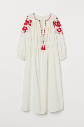 H&M Embroidered Cotton Dress - White