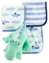 Carter's Alligator Plush Toy and Washcloth Set in Blue/Green