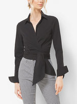 Michael Kors Cotton-Poplin Wrap Blouse