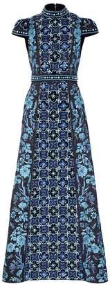 Alice + Olivia Nidia Navy Embellished Satin Gown