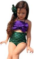 Jane's Mall Little Girls 2 Pcs Princess Mermaid Tail Swimmable Costumes Bikini Set Swimwear