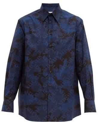 Valentino Vltn Camouflage-print Cotton Shirt - Mens - Navy Multi