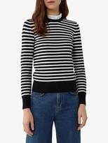 Warehouse Stripe Lace Ruffle Neck Jumper, Black