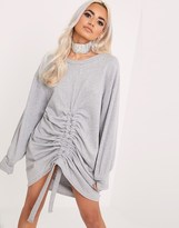 PrettyLittleThing Front Ruche Sweater Dress