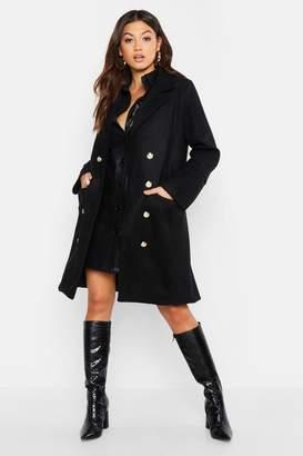 boohoo Military Double Breasted Wool Look Coat