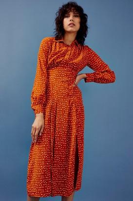 Topshop Rust Split Spot Midi Shirt Dress