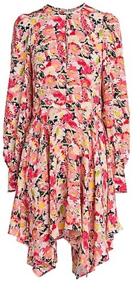 Stella McCartney Felicity Watercolor Floral Silk Dress