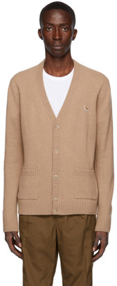 MAISON KITSUNÉ Beige Wool Profile Fox Patch Cardigan