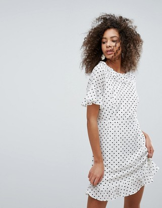 Traffic People Polka Dot Dress With Frill Hem