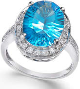 Macy's Blue Topaz (6 ct. t.w.) and Diamond (1/3 ct. t.w.) Ring in 14k White Gold
