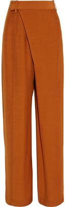 3.1 Phillip Lim Wrap-effect Shantung Wide-leg Pants