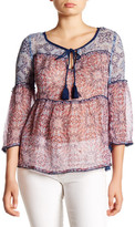 Jessica Simpson Rayna Sheer Printed Blouse