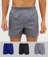 Asos Design ASOS DESIGN woven boxers in navy grey & black 3 pack