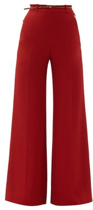 Chloé High-rise Leather-belted Crepe Wide-leg Trousers - Red