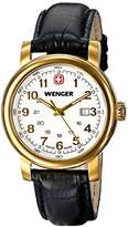 Wenger Urban Classic PVD Women's Quartz Watch with Silver Dial Analogue Display and Black Leather Strap 011021109