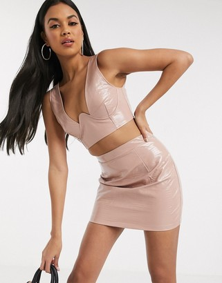 Saint Genies underwire crop top in PU and skirt set in pink