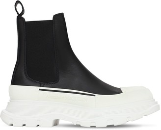 Alexander McQueen 45mm Tread Slick Leather Ankle Boots