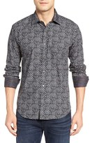 Bugatchi Shaped Fit Print Sport Shirt
