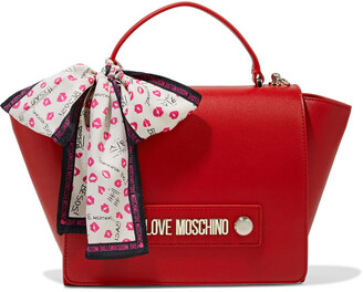 Love Moschino Bow-detailed Faux Leather Shoulder Bag