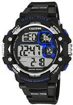 Calypso Men's Digital Watch with LCD Dial Digital Display and Black Plastic Strap K5674/3