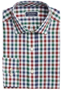 Club Room Men's Classic/Regular-Fit Performance Stretch Gingham Check Dress Shirt, Created for Macy's