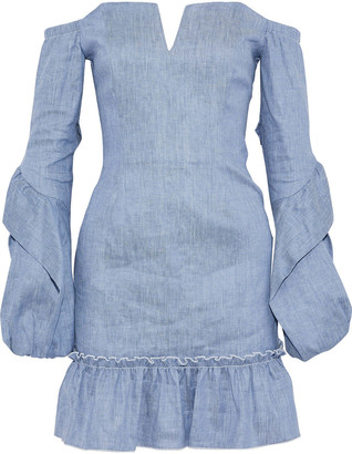 Nicholas Off-the-shoulder Denim Mini Dress