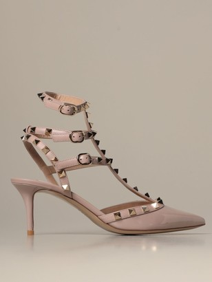Valentino Rockstud Deacute;colleteacute; In Patent Leather And Leather With Studs