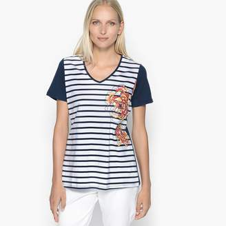 Anne Weyburn Striped Cotton T-Shirt with Floral Motif