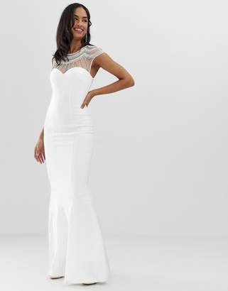 City Goddess capped sleeve fishtail maxi dress with embellished detail-White