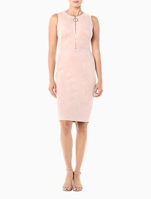 Calvin Klein Scuba Suede Zip-Front Sheath Dress