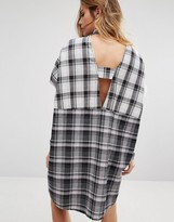 Noisy May Open Back Check Shirt Dress