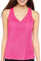 JCPenney Flirtitude® Lace Front Henley Tank