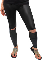 Magid Black Faux Leather Distressed Leggings