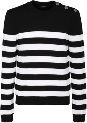 Balmain Striped Wool & Cotton Knit Sweater