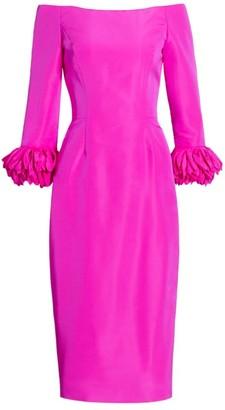Off-The-Shoulder Silk Faille Anemone- Cuffs Cocktail Dress