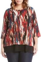 Karen Kane Plus Size Women's Print Side Tie Top