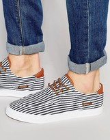 Asos Boat Shoes in Navy and White Stripe