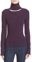 Tanya Taylor 'Lia' Cutout Stripe Rib Knit Sweater