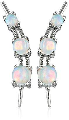 The Ear Pin Sterling Silver Simulated Opal The Look of 3-in-1 Earrings