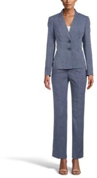 Le Suit Petite Printed Notch-Collar Pantsuit