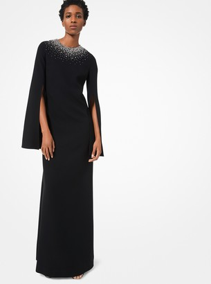 Michael Kors Embroidered Double Crepe-Sable Cape Gown