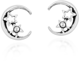 Aeravida Handmade Fun and Trendy Crescent Moon and Stars Sterling Silver Stud Earrings