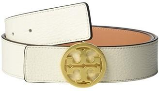 Tory Burch 1.5 Reversible Logo Belt (New Ivory/Natural Vachetta/Gold) Women's Belts