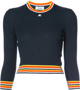 Courreges striped hem longsleeve sweater - women - Cotton/Cashmere - 2